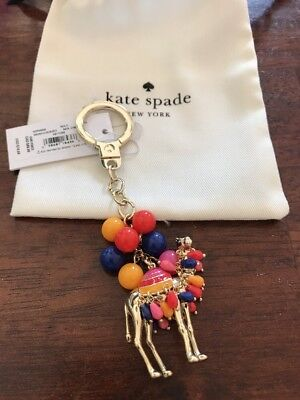 New Kate Spade Spice Things Up Camel Jeweled  Bag Charm Key Chain Ring  FOB