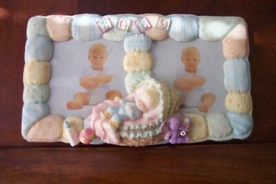 Vintage NEW Baby Double Picture Frame from Ceramic World Inc. Polyresin Giftware