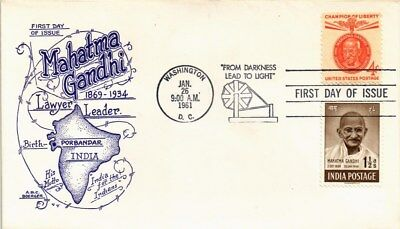 Dr Jim Stamps Us Gandhi Champion Of Liberty Fdc Cover Combo Abc Boerger