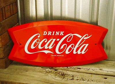 "Coca-Cola Coke Fishtail Emblem Logo Embossed Drink Red 19"" Metal Tin Sign"