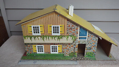 Vintage Doll House With 20 Pieces Of Doll House Furniture