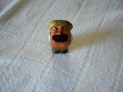Vintage ANRI Big Mouth carved wood carving toothpick holder
