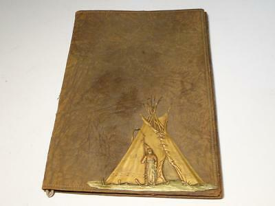 Vintage Leather with Indian Teepee Design Book Cover with Letter Opener