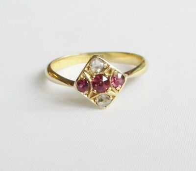 Old antique Art Deco 18ct gold old rosecut diamonds & ruby ring size L - L 1/2