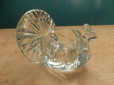 Avon Clear Glass Turkey Shaped Candle Holder