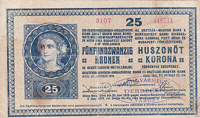 25 Korona/kronen Fine Note With A Stamp From City Of Debrecen In 1919 Rr
