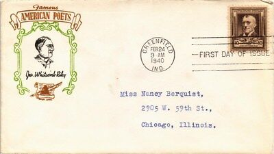 Dr Jim Stamps Us James Whitcomb Riley Famous Americans Fdc Torkel Gundel Cover