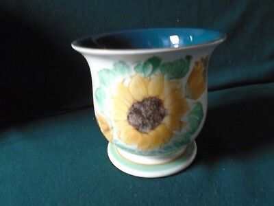 Rare Denby Sunflower Pattern Jardinier designed and hand painted by Lyn in 1996