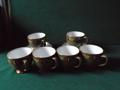 Six Quality Denby 'Marrakesh'cups and saucers