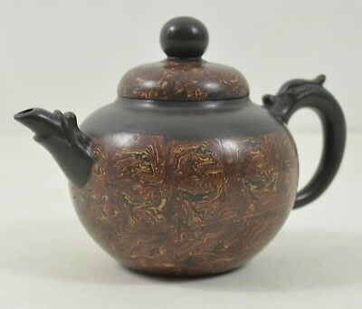 Vintage Chinese Marbled Clay Teapot Small Brown Tea Pot