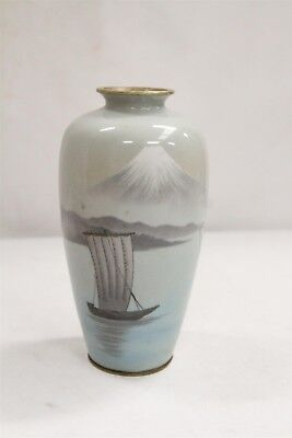 RARE Japanese Cloisonne Mt Fuji 3 Boats Mountains Light Blue Vase