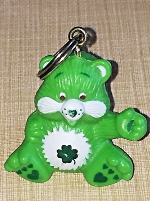 Vintage 1980's CARE BEAR Keychain ZIPPER PULL ~ Good Luck Bear