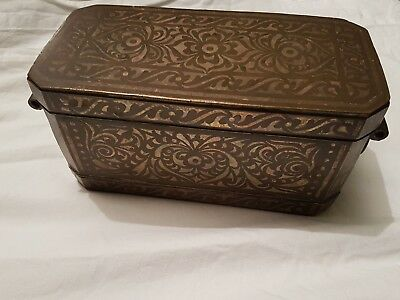 Large Antique Bronze And Silver Philippines Betal Nut Casket**uk Posting Only **
