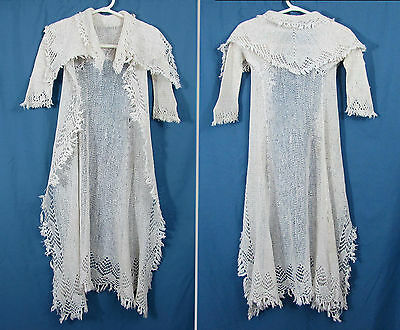 "Antique 30"" Crochet baby coat with fringe c. 1900 - Christening coat"