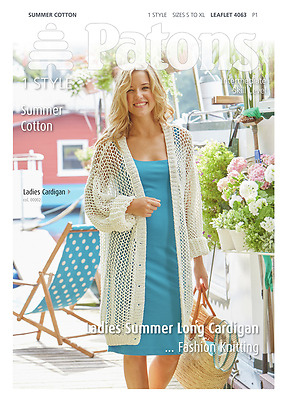 Patons Ladies Long Lacey Cardigan Summer Cotton Knitting Pattern 4063