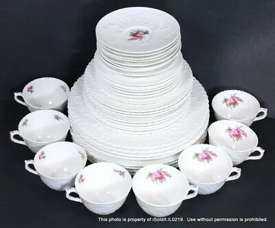 40-PC SPODE BRIDAL ROSE CHINA 8 Place Settings Plates Cups Saucers White Y2862
