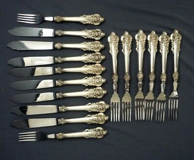 16 Piece Wallace Sterling Silver GRAND BAROQUE Pattern Fish Set for 8 Knife Fork