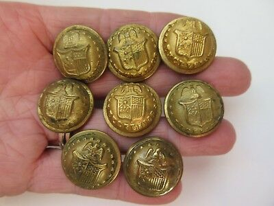 Lot of 8 Antique US Metal Military Uniform BUTTONS New York State Seal Civil War