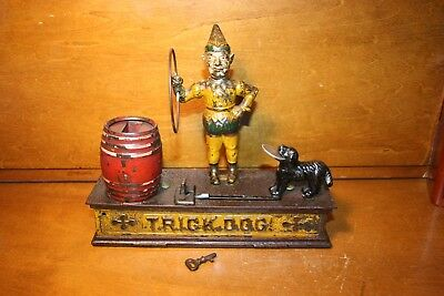 Original Painted Antique Cast Iron Trick Dog Mechanical Bank by Hubley c. 1888