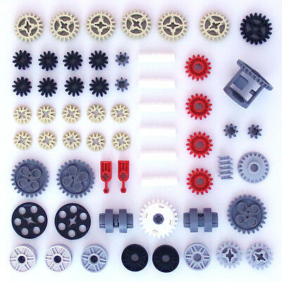 Lego Technic Gears Cogs Wheels Worm Clutch Pulleys Differential - 60 Parts - NEW