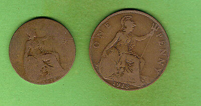 1915  Great Britain Bronze One Penny & Halfpenny Coins