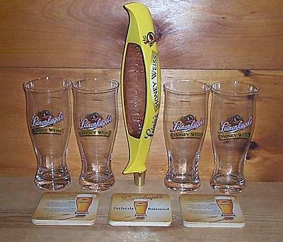 Leinenkugels Honey Weiss Tap Handle 4 Signature Beer Pub Glasses & Coasters New