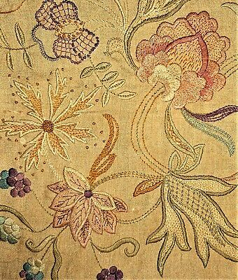Jacobean Floral Vintage Antique Victorian Finished Completed Crewel Embroidery