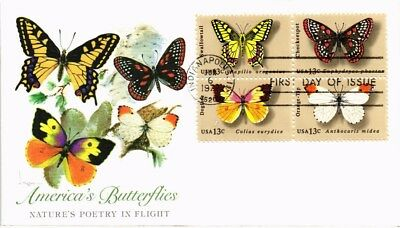 Dr Jim Stamps Us Americas Butterflies Block Of Four First Day Cover 1977