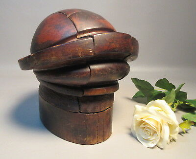 c1910 Hard Wood Millinery Puzzle Commercial Hat Block Mold Form 7 Pieces