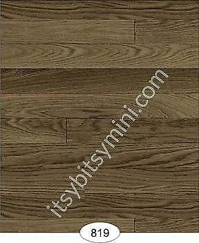 Miniature Dollhouse Wallpaper Floor 1:12 Scale Wood Flooring Walnut - 0819
