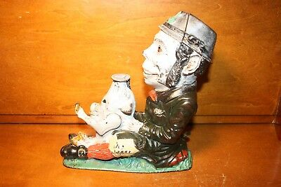 Antique Cast Iron PADDY AND THE PIG Mechanical Bank Toy by J & E Stevens c.1882