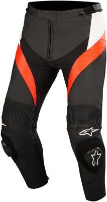 Alpinestars Adult Motorcycle Leather Missile Pants Black/White/Red 44-60