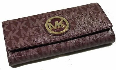 Michael Kors  Fulton Merlot Mk Signature Flap Large  Continental    Wallet