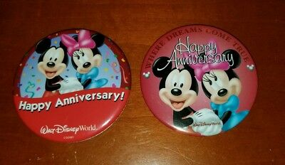 Lot of 2 Walt Disney World Happy Anniversary Pin Button Mickey & Minnie