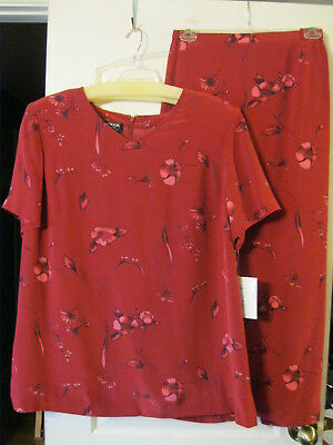 Patrick Woman Collection, 22, NWT, 2 Pc Set, Silk Skirt & Top, Wine Floral