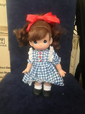 "Precious Moments Pretty Girl in Blue Dress With Red Bow 9"" Doll"