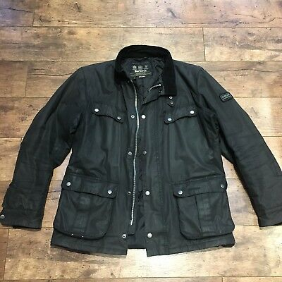 Men's Barbour International Black Waxed Duke Quilted Jacket Size Large Ex Con!