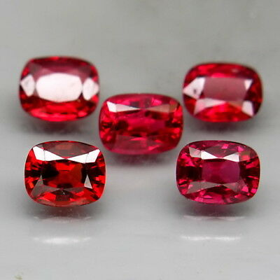 Cushion 5x4-5.5x4mm.Very Good Color! Red Spinel MaeSai,Thailand 5Pcs/2.50Ct.