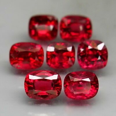 Cushion 4x4-5x4mm.Very Good Color! Red Spinel MaeSai,Thailand 7Pcs/3.14Ct.