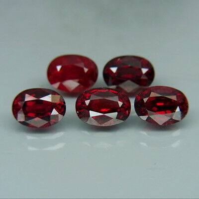 Oval 7x5mm.Best Color Natural Top Noble Red Spinel MaeSai,Thailand 5Pcs/5.10Ct.