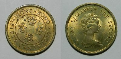 Hong Kong : 50 Cents 1977 - Nice Lustrous Coin