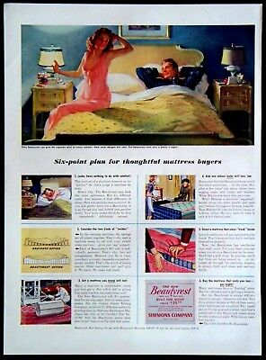 Vintage 1941 Beautyrest Mattress by Simmons Company Magazine Ad