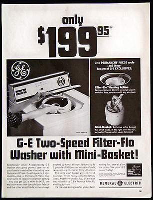 Vintage 1966 G-E General Electric Two-Speed Filter-Flo Washer Magazine Ad