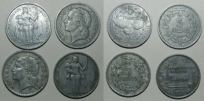 4 X OLD FRENCH COINS - LARGE ALUMINIUM TYPES  1940's & 1950's