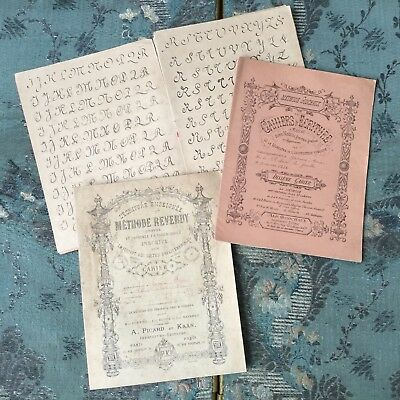 Lot De 3 Cahiers d'Ecriture Anciens 1900 Reverdy Antique School Handwritten