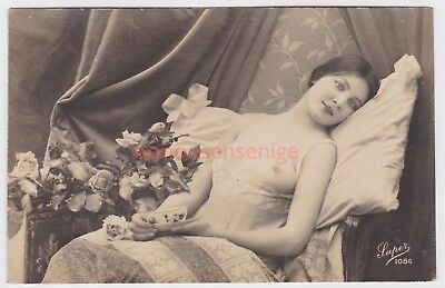 FRANCE EROTIC RISQUE NAKED NUDE NU WOMAN DESHABILLE Super 1086 REAL PHOTO - 11