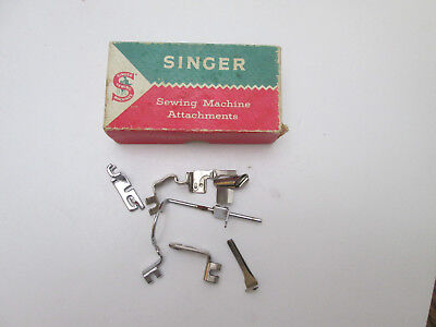 Lot of 7 Vintage Sewing Machine Foot Attachments Misc in Singer Box 2254
