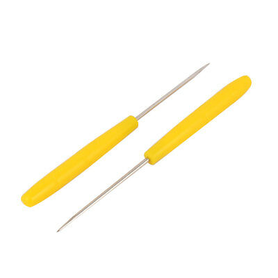 Tailor Handle Grip Straight Tip Needle Sewing Pricke Awl Tool Yellow 2 Pcs