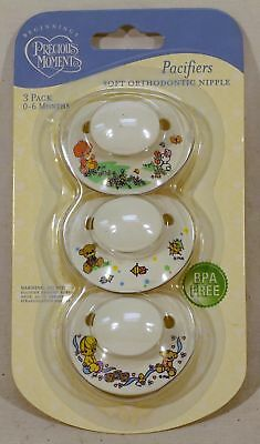 Precious Moments Pacifiers ~ 3 Pack ~ Soft Orthodontic Nipple ~ For 0-6 Months
