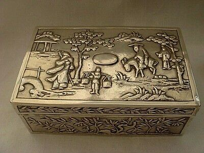 Large Early Antique Export  Solid Silver Chinese Hallmarked Wing Hing Box